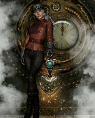 Steampunk Royalty-Free and Rights-Managed Images - Steampunk Heart by Suzanne Amberson