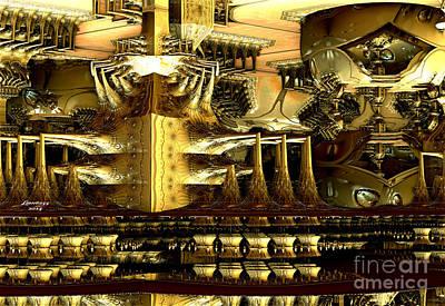 Abstract Digital Art - Steampunk Machine by Melissa Messick