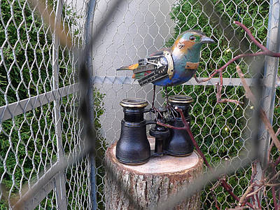 Photograph - Steampunk Metal Bird Watcher by Richard Reeve