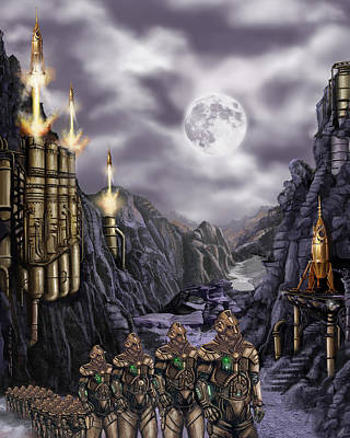 Steampunk Moon Invasion Art Print