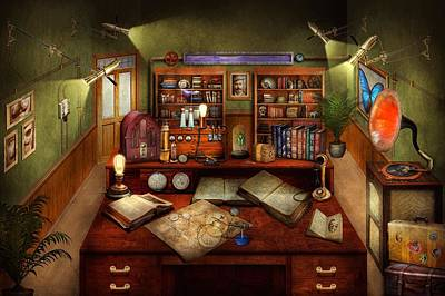 Photograph - Steampunk - My Busy Study by Mike Savad