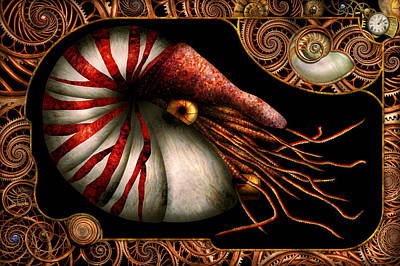 Steampunk - Nautilus - Coming Out Of Your Shell Art Print by Mike Savad