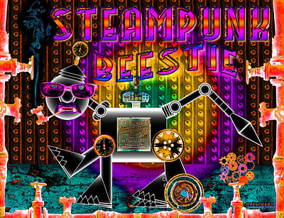 Verlyn Dean Gleisberg Mixed Media - Steampunk Neon by Dean Gleisberg