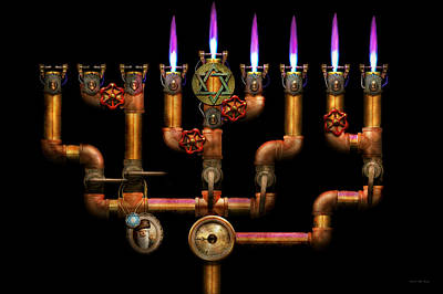 Photograph - Steampunk - Plumbing - Lighting The Menorah by Mike Savad