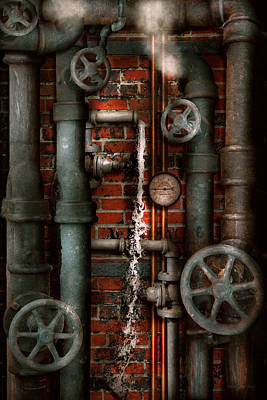 Digital Art - Steampunk - Plumbing - Pipes And Valves by Mike Savad