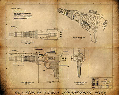 Column Painting - Steampunk Raygun by James Christopher Hill
