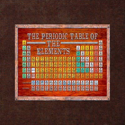 Digital Art - Steampunk Retro Periodic Table by Mark E Tisdale