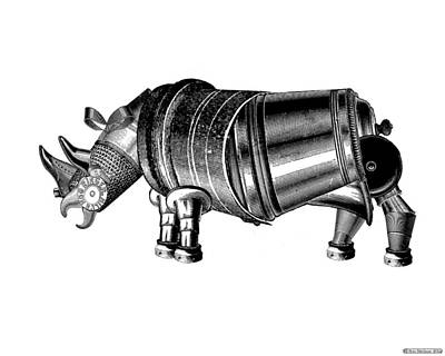 Digital Art - Steampunk Rhinoceros by Eric Edelman