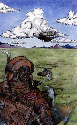 Steampunk Robot Art Print by Elizabeth Aubuchon