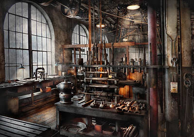 Steampunk - Room - Steampunk Studio Art Print by Mike Savad