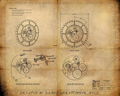 Steampunk Solar Disk Art Print by James Christopher Hill