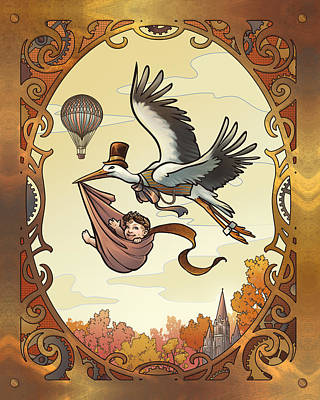 Digital Art - Steampunk Stork by Dani Kaulakis