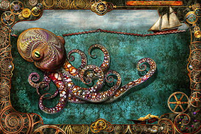 Steampunk - The Tale Of The Kraken Art Print by Mike Savad