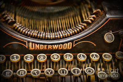 Typewriter Keys Photograph - Steampunk - Typewriter - Underwood by Paul Ward