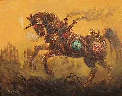 Mechanical Painting - Steampunk War Horse by Tom Shropshire
