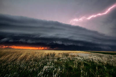 Prairie Sunset Wall Art - Photograph - Steamroller - Storm Spans Horizon In Kansas by Sean Ramsey