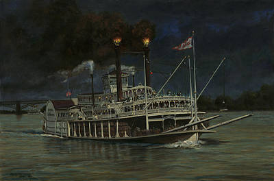 Steamboat Painting - Kate Adams Steamboat Night by Don  Langeneckert