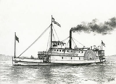 Steamboat Drawing - Steamboat Idaho by James Williamson