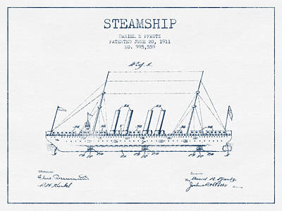 Transportation Digital Art - Steamship patent from 1911  - Blue Ink by Aged Pixel