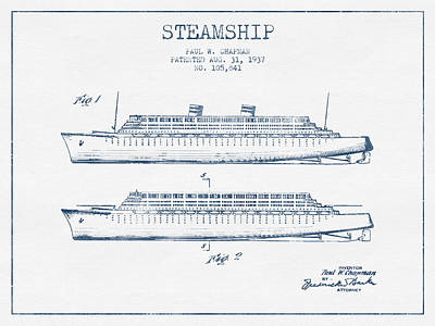Transportation Digital Art - Steamship patent from 1937 - Blue Ink by Aged Pixel