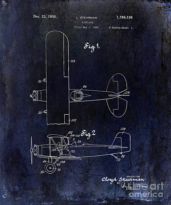 1929 Stearman Patent Drawing Blue Art Print by Jon Neidert