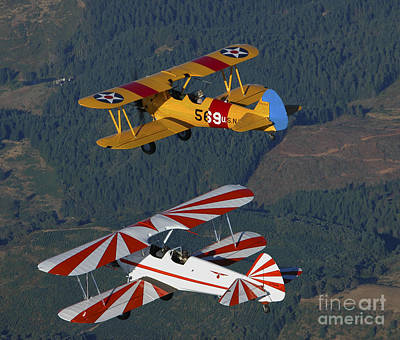 Stearman Model 75 Biplanes Flying Art Print by Phil Wallick