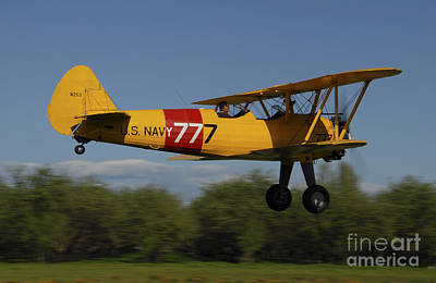 Stearman N2s Biplane In U.s. Navy Art Print by Phil Wallick