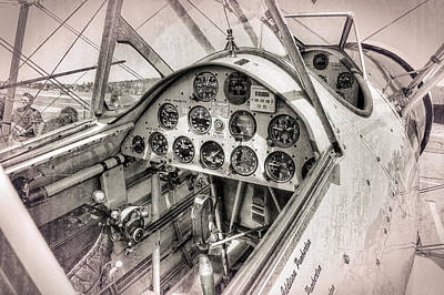 Cockpit Photograph - Stearman N4760v Cockpit by Daniel Hagerman