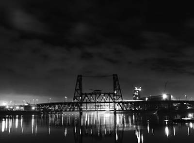 Black And White Photograph - Steel Bridge At Night  by Art K