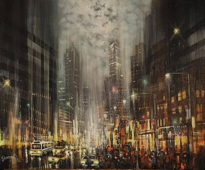 Chicago At Night Painting - Steel Canyons by Tom Shropshire
