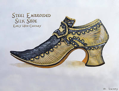 Social History Painting - Steel Embroidered Silk Shoe - Early 18th Century by Mary Quarry