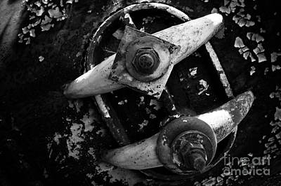 Photograph - Steel Hatch Bw by Lawrence Burry