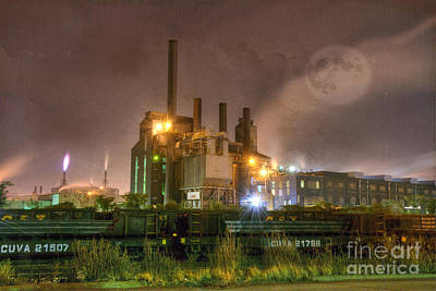 Chimney Photograph - Steel Mill At Night by Juli Scalzi