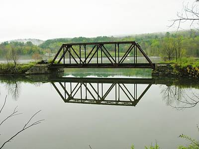 Art Print featuring the photograph Vermont Steel Railroad Trestle On A Calm  Misty Morning by Sherman Perry
