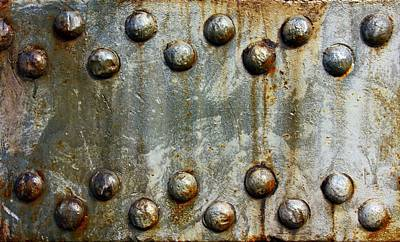 Cabin Wall Photograph - Steel Rivets With Rust Minimalist Steampunk  by Movie Poster Prints
