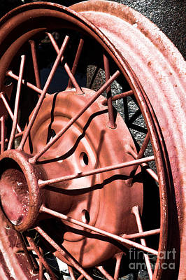 Photograph - Steel Spoke Model A Wheel by Lawrence Burry