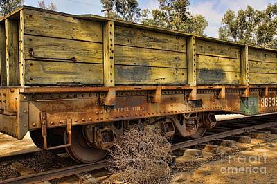 Photograph - Steel Wheels And Tumbleweed by Peggy Hughes