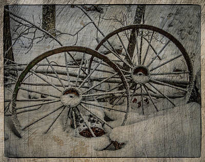 Old Wagon Photograph - Steel Wheels by Paul Freidlund
