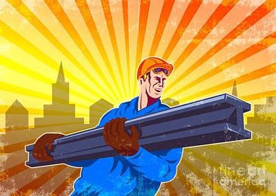 Steel Worker Carry I-beam Retro Poster Art Print by Aloysius Patrimonio