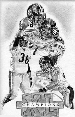 Steelers Drawing - Steelers Champions by Jonathan Tooley