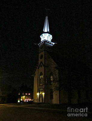 Photograph - Steeple After Dark  by Nancy Patterson