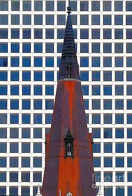 Art Print featuring the photograph Steeple And Office Building by Janette Boyd