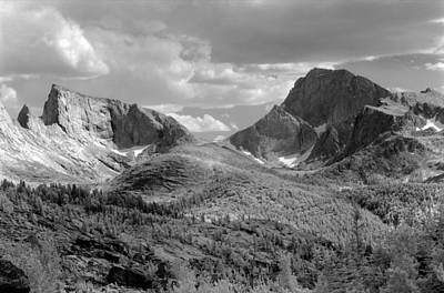 Photograph - 109629-bw-steeple And Temple Peaks, Wind Rivers by Ed  Cooper Photography