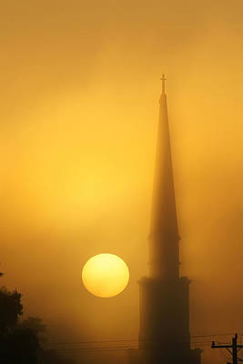 Photograph - Steeple In Fog At Sunrise by Alex Grichenko