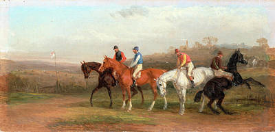 Steeplechase Painting - Steeplechasing At The Start, William J. Shayer by Litz Collection