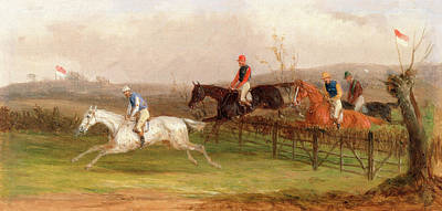 Steeplechase Painting - Steeplechasing The Brook, William J. Shayer by Litz Collection