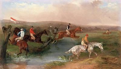 Hurdle Painting - Steeplechasing The Hurdle Signed And Dated by Litz Collection