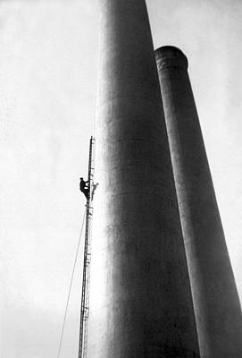 Steeplejack Ascends Tower Art Print by Underwood Archives