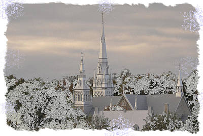 Photograph - Steeples In The Snow by Nadalyn Larsen