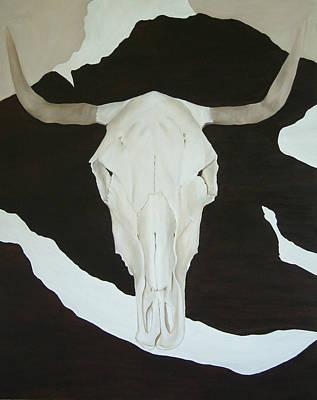 Steer Painting - Steer Skull by Sue McDonald